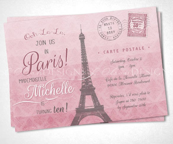 ooh la la paris event postcard download template
