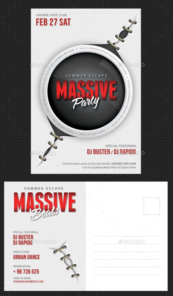 massive party event postcard template download