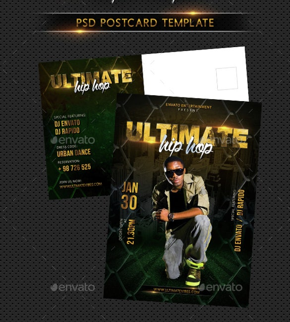 hip hop ultimate party event postcard downlpad