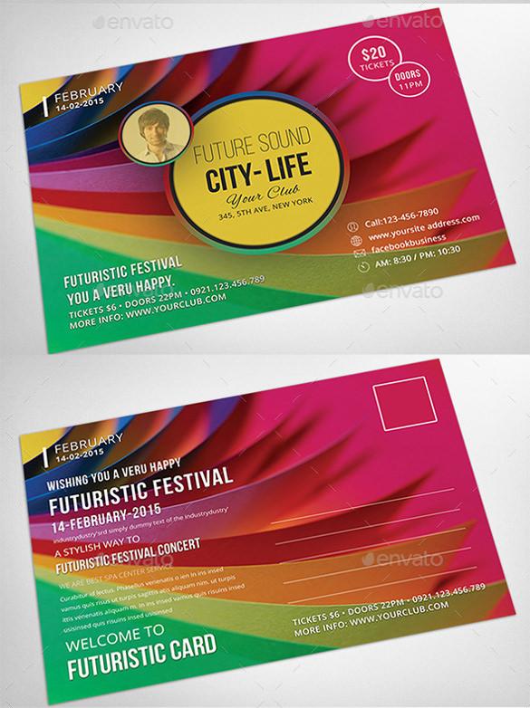 futuristic festival event postcard downlpad psd format