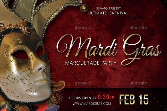 mardi gras carnival party event postcard template
