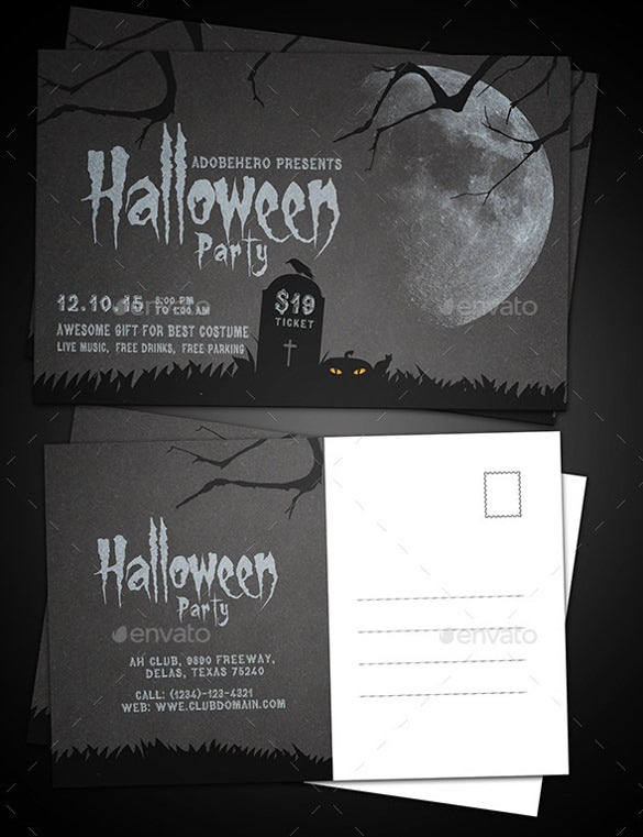 halloween party event postcard download template