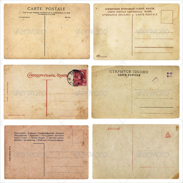 If You Want A Vintage Look For Your Postcard, You Could Go For This Template.  It Appears To Be Made Of Tattered Yellow Pages, True To The Vintage Look.  Postcard Templates Free