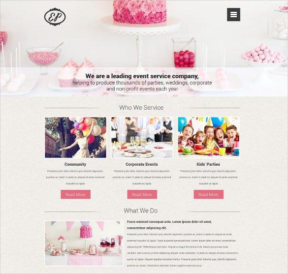 party event planner drupal template