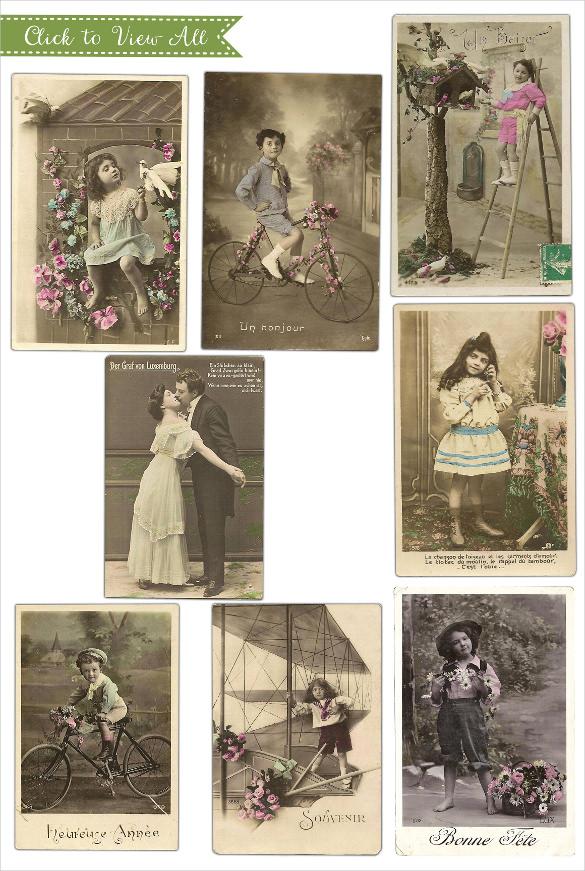 old children antique postcards