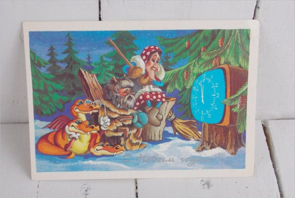 old postcard with happy new year