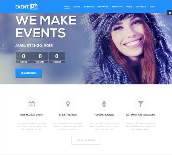 one page conference event drupal theme