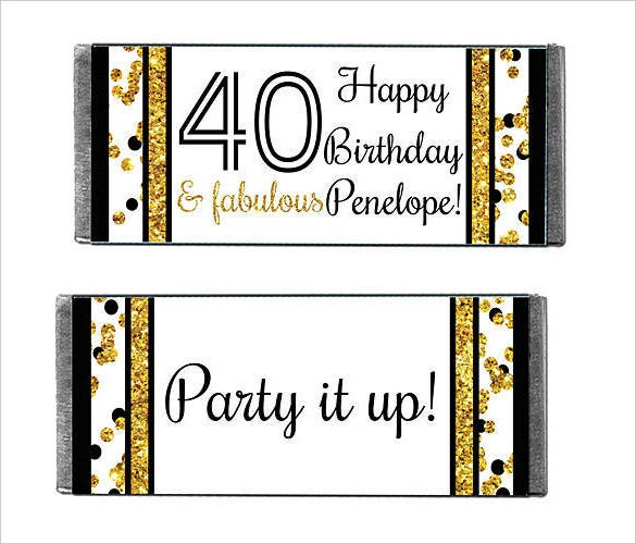 cheers to you 40 personalized candy bars wrapper