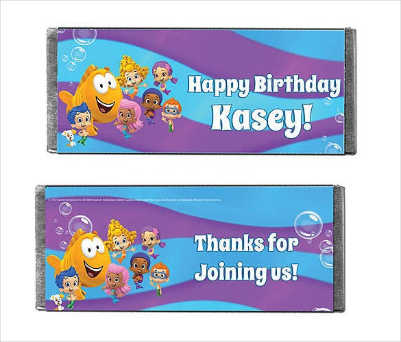 bubble guppies time to play candy bars wrapper template