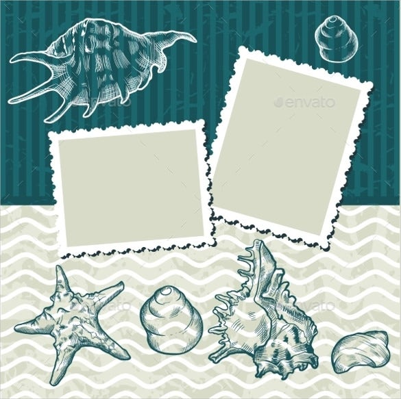 old postcards and seashells background