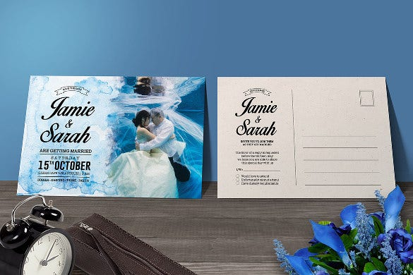 water colors simple wedding invitation