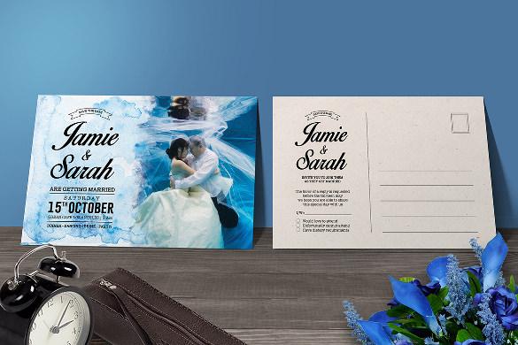 Water Colors Simple Wedding Invitation