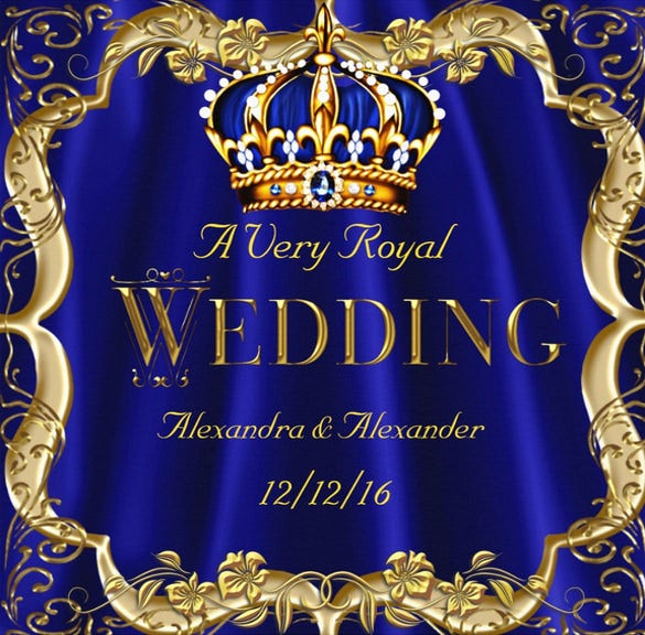 royal blue wedding invitation