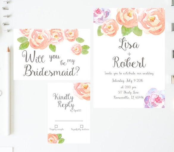bridesmade flowered wedding invitation