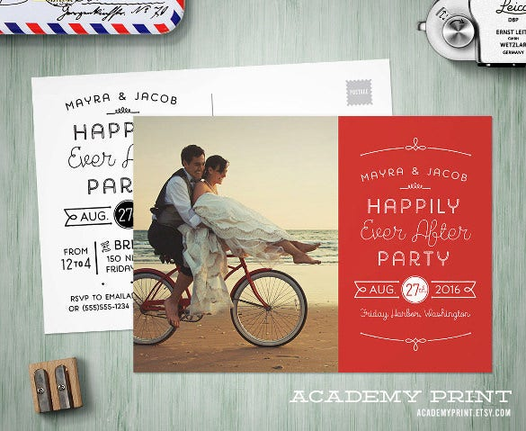 printable post wedding photo postcard template