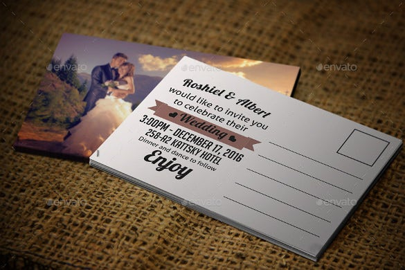 wedding photo postcard template psd format