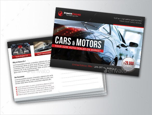 automotive car sale photo postcard template