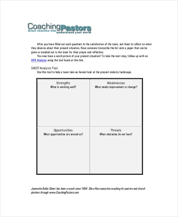 team swot analysis template