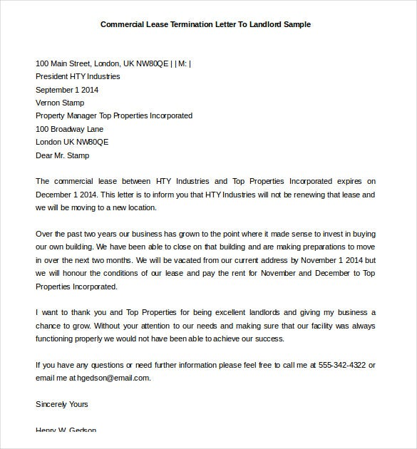 commercial lease termination printable letter to landlord sample - Termination Letter For Tenant From Landlord