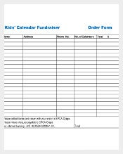 Example Kids Calendar Fundraiser Order Form Download