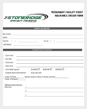 Event Insurance Order Form Example Template Download