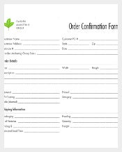 Shopping Delivery Order Confirmation Form Free Download