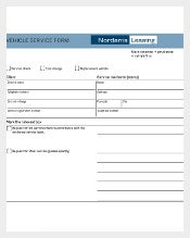 Example Template for Vehicle Service Form