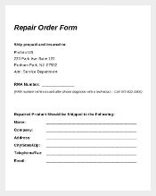 Sample Repair Order Form Download