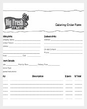 Example Template to Download Catering Order Form