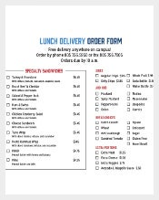 Lunch Delivery Order Form Free Sample Example Format Download