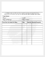 Food Order Delivery Email Form Sample Template