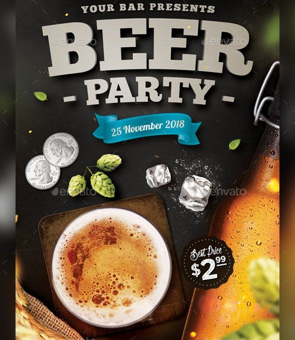 download beer party flyer template psd design11
