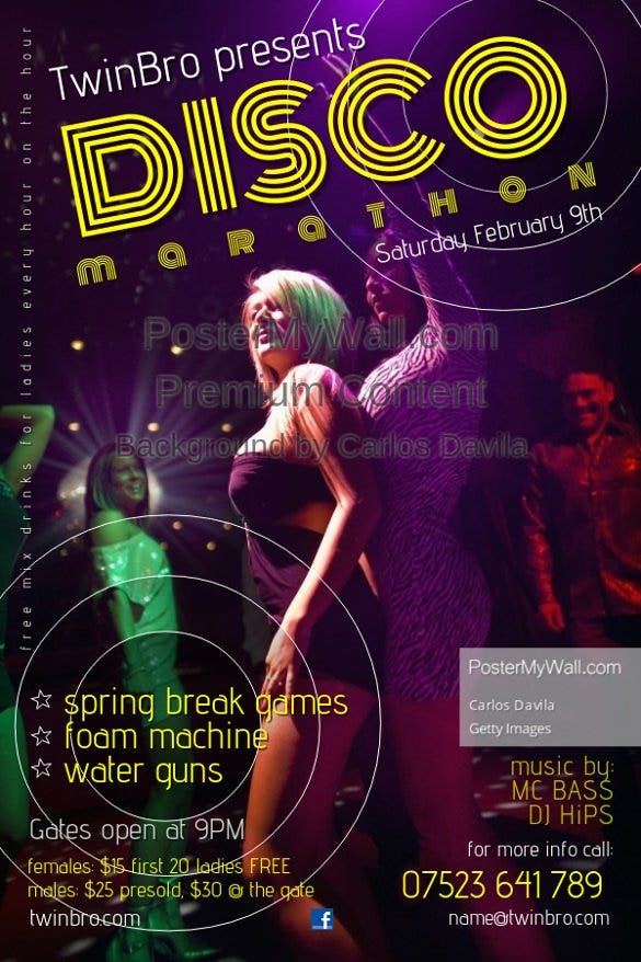 disco marathon party flyer template free11