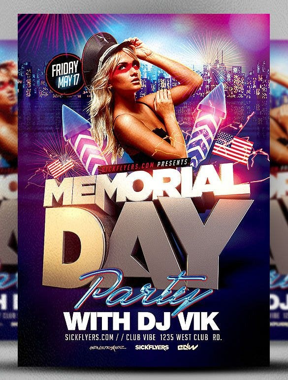 memorial day party flyer template psd premium down11