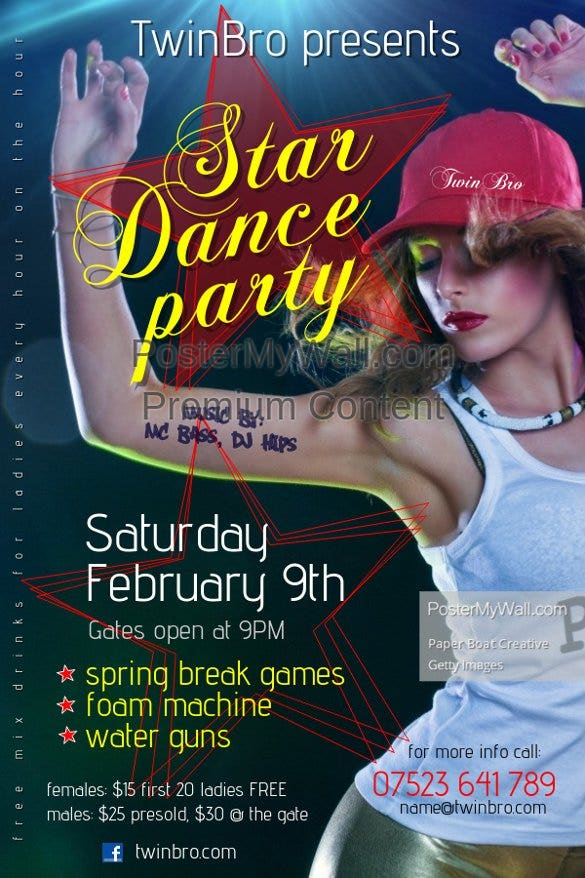 star dance party flyer template online editable11