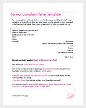 Formal Complaint Letter Agreement Template