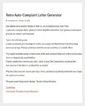 Free Sample Complaint Letter Generator Free Download1