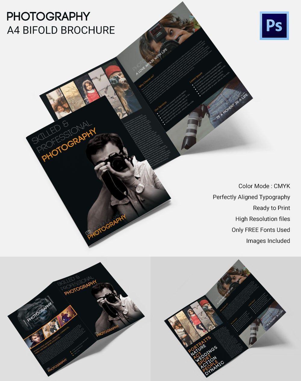 Photography A4 Bifold Brochure Template