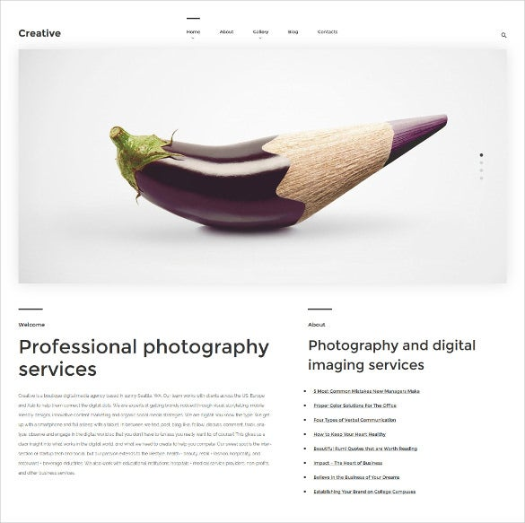 creative wordpress theme