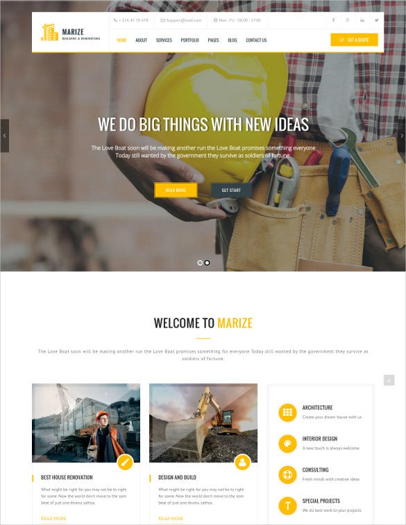 marize construction building wordpress theme