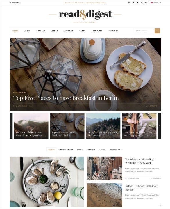 read digest theme for magazines newspapers blogs