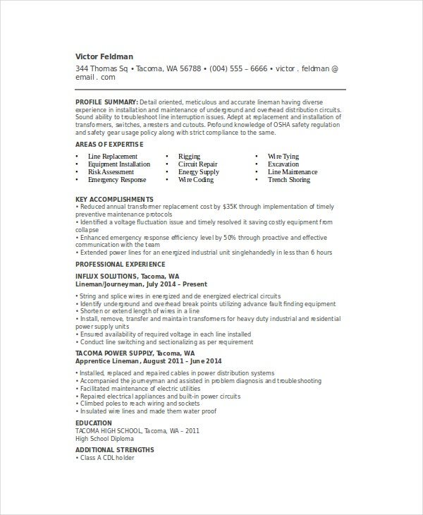 Electrical Lineman Resume