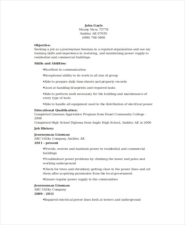 lineman resume - Electrician Apprentice Resume