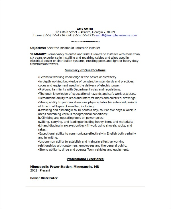 Power Line Installer Resume  Lineman Resume