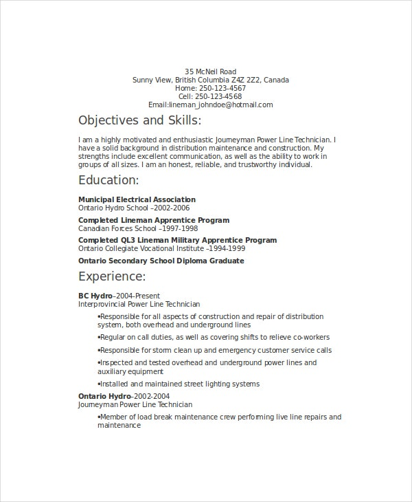 power lineman resume