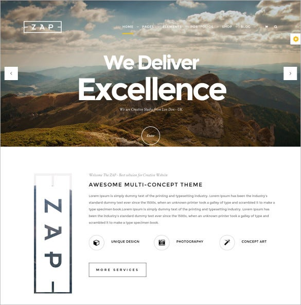 zap creative multi concept wordpress theme