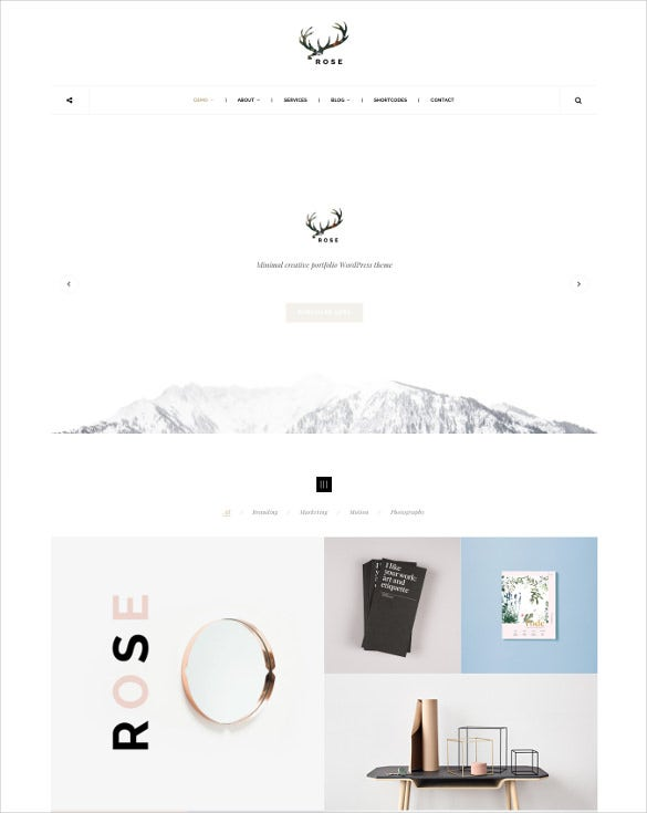 rose minimalist agency architecture blog theme