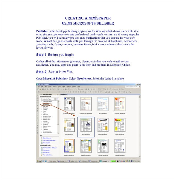 creating a newspaper using microsoft publisher