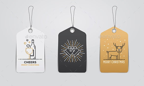 collection of christmas and new year gift tags template