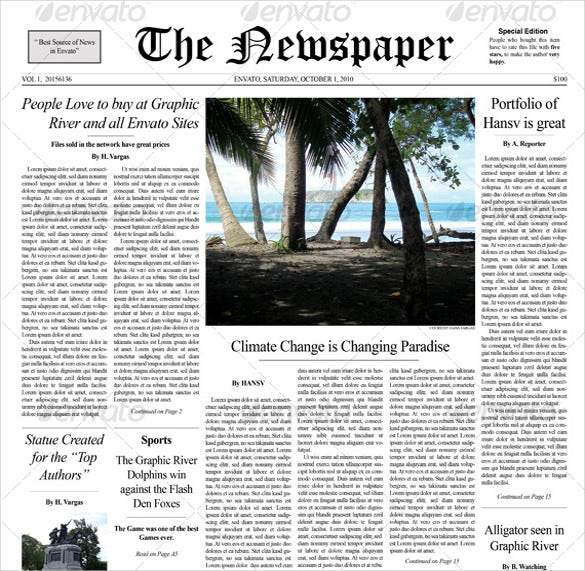 Front Page Newspaper Template Roho4senses